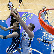 Anadolu Efes's Sinan Guler (L) during their Turkish Basketball league derby match Fenerbahce Ulker between Anadolu Efes at the Ulker Sports Arena in Istanbul, Turkey, Monday, April 29, 2013. Photo by Aykut AKICI/TURKPIX