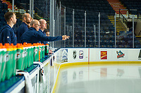 KELOWNA, BC - SEPTEMBER 23: Zack Kassian #44 of the Edmonton Oilers takes part in a puck toss with staff prior to practice at Prospera Place on September 23, 2019 in Kelowna, Canada. (Photo by Marissa Baecker/Shoot the Breeze)