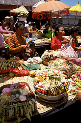 Temple Festival, Mascoti, Gianyar, Bali, Indonesia, Asia,  photo bali 212, Photo Copyright:  Lee Foster, www.fostertravel.com, 510-549-2202, lee@fostertravel.com, baskets, flora, craft, enjoyment, artful, inspiring, colorful, ornaments, display, umbrellas, leisure, attraction, travel, splendor, horizontal