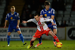 Stevenage's Dean Parrett and Crewe Alexandra's Jon Guthrie compete for the ball - Photo mandatory by-line: Mitchell Gunn/JMP - Tel: Mobile: 07966 386802 22/02/2014 - SPORT - FOOTBALL - Broadhall Way - Stevenage - Stevenage v Crewe Alexandra - League One