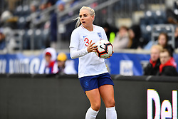 February 27, 2019 - Chester, PA, U.S. - CHESTER, PA - FEBRUARY 27: England Defender Alex Greenwood (3) readies for a throw-in in the first half during the She Believes Cup game between Brazil and England on February 27, 2019 at Talen Energy Stadium in Chester, PA. (Photo by Kyle Ross/Icon Sportswire) (Credit Image: © Kyle Ross/Icon SMI via ZUMA Press)