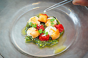 Chef de Cuisisne David Thomas adds salt to a Caprese salad at The Bazaar restaurant in South Beach's SLS Hotel