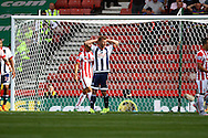 Callum McManaman of West Bromwich Albion reacts to missing a chance. Barclays Premier League match, Stoke city v West Bromwich Albion at the Britannia stadium in Stoke on Trent, Staffs on Saturday 29th August 2015.<br /> pic by Chris Stading, Andrew Orchard sports photography.