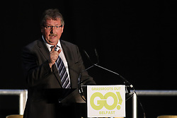 © Licensed to London News Pictures. 4/03/2016. Belfast, Northern Ireland, UK. Sammy Wilson MP (DUP) joins Brexit supporters gather in Belfast for a Grassroots Out rally. Speakers included Jim Allister MLA (Leader, Traditional Unionist Voice) Kate Hoey MP (Labour) Nigel Farage MEP (Leader, UKIP) Peter Bone MP (Conservative) Tom Pursglove MP (Conservative) David McNarry MLA (Leader, UKIP NI) Graham Gudgin (Economist) Kevin McCorry (People's Movement)       Photo credit : Paul McErlane/LNP