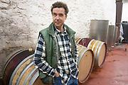 Pascal Perret Domaine Mas Lumen in Gabian. Pezenas region. Languedoc. Barrel cellar. Owner winemaker. France. Europe.