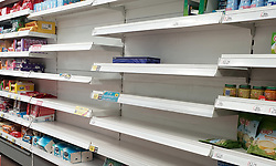 © Licensed to London News Pictures. 26/09/2021. London, UK. Empty shelves of tissue boxes in Savers in north London as the supply chain crisis continues. UK food producers and supermarkets are warning that shoppers are likely to face product shortages in the coming weeks after thousands of EU nationals quit their jobs as truck drivers in the UK following Brexit. According to the government, 5,000 heavy truck drivers and 5,500 poultry workers will be given working visas until Christmas 2021. Photo credit: Dinendra Haria/LNP