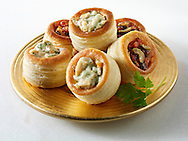 Volavents filled with salmon & dill cream and olive tapenade