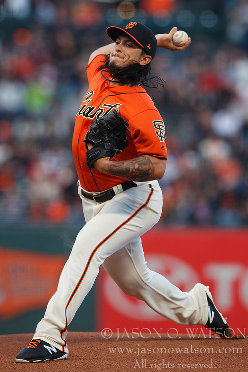 SAN FRANCISCO, CA - JULY 06: Dereck Rodriguez #57 of the San Francisco Giants pitches against the St. Louis Cardinals during the first inning at AT&T Park on July 6, 2018 in San Francisco, California.  (Photo by Jason O. Watson/Getty Images) *** Local Caption *** Dereck Rodriguez