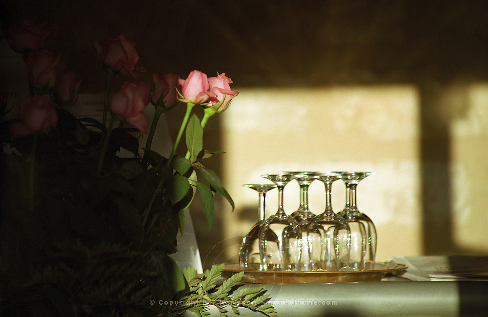 Wine tasting glasses in the light of the setting sun and roses in the tasting room, Chateau de l'Engarran, Laverune, Coteaux du Languedoc St George d'Orques, Languedoc-Roussillon, France
