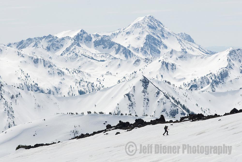 Backcountry ski touring in the Wallowa Mountains.  Eagle Cap Wilderness Area, Oregon.