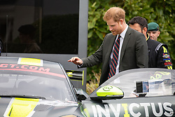 As part of today's visit to The  Training Centre Royal Marines, Lympstone. Prince Harry's  met the Invictus Games Racing Team. The Team was the brainchild of James Holder, Co founder of  clothing brand Superdry.<br /> <br /> 