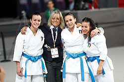 November 11, 2018 - Madrid, Madrid, Spain - Italy Team win the bronce medal and the third place of Female Kata Team during the Finals of Karate World Championship celebrates in Wizink Center, Madrid, Spain, on November 11th, 2018. (Credit Image: © AFP7 via ZUMA Wire)