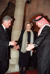 L-R : Bill and Hillary Clinton and New King Abdallah (or Abdullah) seen during King Hussein's funeral at the Royal palace in Amman, Jordan on February 8, 1999. Twenty years ago, end of January and early February 1999, the Kingdom of Jordan witnessed a change of power as the late King Hussein came back from the United States of America to change his Crown Prince, only two weeks before he passed away. Photo by Balkis Press/ABACAPRESS.COM