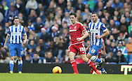 Middlesbrough FC midfielder Stewart Downing gets away from Brighton striker, Tomer Hemed (10) during the Sky Bet Championship match between Brighton and Hove Albion and Middlesbrough at the American Express Community Stadium, Brighton and Hove, England on 19 December 2015.