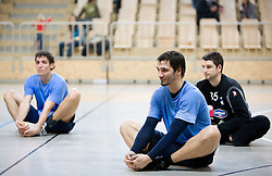 Luka Dobelsek, David Spiler and Dusan Podpecan at Open training session for the public of Slovenian handball National Men team before European Championships Austria 2010, on December 27, 2009, in Terme Olimia, Podcetrtek, Slovenia.  (Photo by Vid Ponikvar / Sportida)
