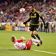 Justin Meram, Columbus Crew SC, is challenged by Dax McCarty, New York Red Bulls, during the New York Red Bulls Vs Columbus Crew SC, Major League Soccer Eastern Conference Championship, second leg, at Red Bull Arena, Harrison, New Jersey. USA. 29th November 2015. Photo Tim Clayton