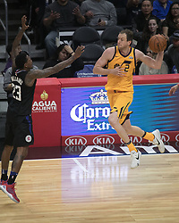 November 30, 2017 - Los Angeles, California, United States of America - Joe Ingles #2 of the Utah Jazz passes the ball during their game with the Los Angeles Clippers on Thursday November 30, 2017 at the Staples Center in Los Angeles, California. Clippers lose to Jazz, 126-107. JAVIER ROJAS/PI (Credit Image: © Prensa Internacional via ZUMA Wire)