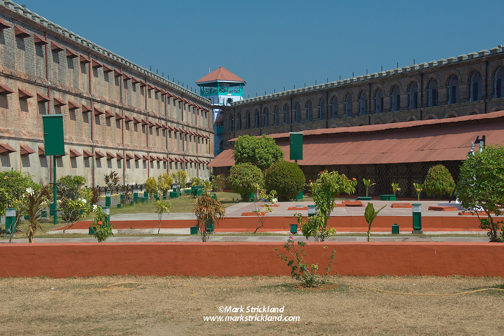 Courtyard of the infamous Cellular Jail, now a museum, where the British incarcerated Indian freedom fighters from 1896 until the country gained independence in 1947. Port Blair, Andaman Islands, India