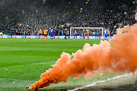 Football - 2017 / 2018 Sky Bet Championship - Cardiff City vs. Wolverhampton Wanderers<br /> <br /> an orange flare thrown onto the pitch after Wolves score, at Cardiff City Stadium.<br /> <br /> COLORSPORT/WINSTON BYNORTH
