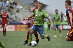 May 26, 2018 - Seattle, Washington, U.S - MLS Soccer 2018: CLINT DEMPSEY (2) in action against the RSL defense as Real Salt Lake visits the Seattle Sounders in a MLS match at Century Link Field in Seattle, WA. RSL won the match 1-0. (Credit Image: © Jeff Halstead via ZUMA Wire)
