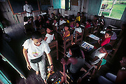 Manacapuru_AM, Brazil.<br /> <br /> In a school by Cururu Lake biologist Tania Sanaiotti holds one more lecture on the harpy eagle. Involving locals in conservation of species is crucial to the project's success.<br /> <br /> Manacapuru, Amazonas, Brazil.<br /> <br /> Foto: JOAO MARCOS ROSA / NITRO