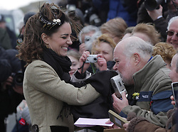 Prince William's fiancee Kate Middleton greets a member of the public during a Naming Ceremony and Service of Dedication for the Royal National Lifeboat Instution's (RNLI) new Atlantic 85 Lifeboat 'Hereford Endeavour', at Trearddur Bay Lifeboat Station, in Trearddur Bay, Anglesey in north Wales.