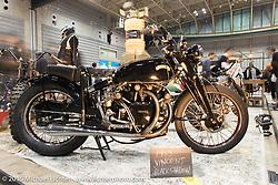 Shinsuke Takizawa's Jurassic Custom's 1953 Vincent Black Shadow at the Mooneyes Yokohama Hot Rod & Custom Show. Yokohama, Japan. December 6, 2015.  Photography ©2015 Michael Lichter.