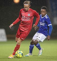 Carl Lange (FC Helsingør) under kampen i 1. Division mellem Fremad Amager og FC Helsingør den 21. oktober 2020 i Sundby Idrætspark (Foto: Claus Birch).