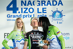 FILUTAS Viktor (HUN)  of Mugen Race Veloki Team, winner in Mountain Summits Classification celebrates during trophy ceremony after  the UCI Class 1.2 professional race 4th Grand Prix Izola, on February 26, 2017 in Izola / Isola, Slovenia. Photo by Vid Ponikvar / Sportida