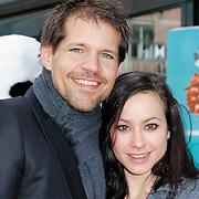 NLD/Amsterdam/20120401 - Premiere de Lorax, Rene van Kooten met partner Tanya