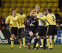 Fotball<br /> Champions League 2004/05<br /> Monaco v Liverpool<br /> 23. november 2004<br /> Foto: Digitalsport<br /> NORWAY ONLY<br /> Liverpool players react with anger and disbelief to referee Claus Bo to no avail as Monaco's goal is allowed to stand