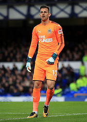 """Newcastle United goalkeeper Martin Dubravka during the Premier League match at Goodison Park, Liverpool. PRESS ASSOCIATION Photo. Picture date: Monday April 23, 2018. See PA story SOCCER Everton. Photo credit should read: Peter Byrne/PA Wire. RESTRICTIONS: EDITORIAL USE ONLY No use with unauthorised audio, video, data, fixture lists, club/league logos or """"live"""" services. Online in-match use limited to 75 images, no video emulation. No use in betting, games or single club/league/player publications."""