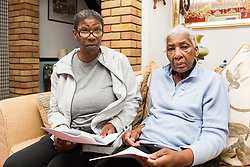 79-year-old pensioner Veronica Gordon, right pictured with her daughter Janice, 51, faces spending her 80th birthday behind bars after getting a suspended prison sentence for refusing to remove a security gate from the entrance to her East London flat, despite having been granted permission to fit it by the previous council owner. London, August 16 2019.