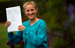 © Licensed to London News Pictures. 17/08/2017. LONDON, UK. <br /> ENGLAND ROWING GOLD MEDALIST RECEIVES A LEVEL RESULTS. Lady Eleanor Holles student Greta Harison, receives 2 A*'s and 1 A in her A level results today and is going onto Kings London to study Classics. Greta was selected to represent England at Home Counties in 2016, she coxed the junior women's eight over the 1500m course in Cardiff, where the boat came away with a gold medal. Photo credit: LNP