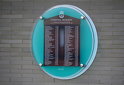 General view of the Liverpool Memorial to the lives lost in the Hillsborough disaster with Andrew Devine added to it during a training session at the AXA Training Centre, Liverpool. Picture date: Monday September 27, 2021.