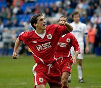 Photo: Jed Wee.<br />Tranmere Rovers v Bristol City. Coca Cola League 1. 22/04/2006.<br /><br />Bristol City's Craig Woodman celebrates.