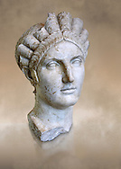Roman marble portrait bust of Matidia circa119 AD from Via Giolitti, Rome. Matidia was Sabina's mother and Hadrian's wife. The high level of idealisation of the portrait suggests that it was made after her death. Capitoline Museums, Rome ...<br /> <br /> If you prefer to buy from our ALAMY STOCK LIBRARY page at https://www.alamy.com/portfolio/paul-williams-funkystock/greco-roman-sculptures.html . Type -    Capitoline    - into LOWER SEARCH WITHIN GALLERY box - Refine search by adding a subject, place, background colour, etc.<br /> <br /> Visit our ROMAN WORLD PHOTO COLLECTIONS for more photos to download or buy as wall art prints https://funkystock.photoshelter.com/gallery-collection/The-Romans-Art-Artefacts-Antiquities-Historic-Sites-Pictures-Images/C0000r2uLJJo9_s0