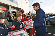 Middlesbrough defender George Friend (3) signing autographs during the EFL Sky Bet Championship match between Middlesbrough and Ipswich Town at the Riverside Stadium, Middlesbrough, England on 29 December 2018.