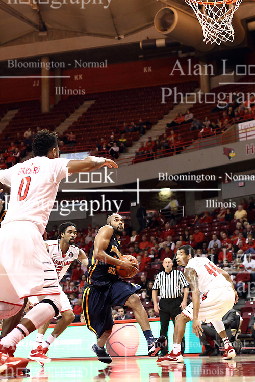 13 December 2015: Justin Seymour(23) heads for the hoop and draws attention from Nick Banyard(0), Tony Wills(12) and DeVaughn Akoon-Purcell(44). Illinois State Redbirds host the Murray State Racers at Redbird Arena in Normal Illinois (Photo by Alan Look)