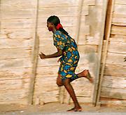 Running Girl in Saint-Louis Senegal