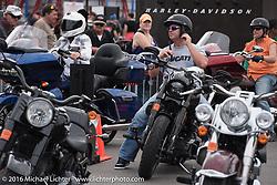 Free Demo rides at the Harley-Davidson foot print at Daytona International Speedway during Free Demo rides at Harley-Davidson at the Daytona International Speedway during Daytona Bike Week's 75th Anniversary event. FL, USA. Saturday March 12, 2016.  Photography ©2016 Michael Lichter.