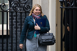 © Licensed to London News Pictures. 29/01/2019. London, UK. Secretary of State for Northern Ireland Karen Bradley leaves 10 Downing Street after attending a Cabinet meeting this morning. Photo credit : Tom Nicholson/LNP