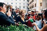 Giorgia Meloni.<br /> Manifestazione di protesta organizzata dai partiti politici Fratelli d'Italia e Lega in piazza Montecitorio, contro il nuovo governo formato dal Partito Democratico e Movimento 5 stelle. Roma 9 Settembre 2019. Christian Mantuano / OneShot