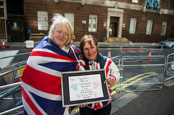 25/04/2015. Maria Scott (left) and Kathy Martin (right), Royal fans outside the Lindo Wing of St Mary's hospital in Padding, where The Duchess is due to give birth. Photo credit: Ben Cawthra