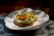 The dungeness crab toast from Faith & Flower restaurant in Los Angeles, CA.
