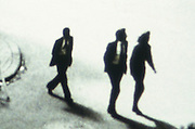 Three business people in silhouette walking across the street  - bookcover restriction livre/roman - France till 09/2018