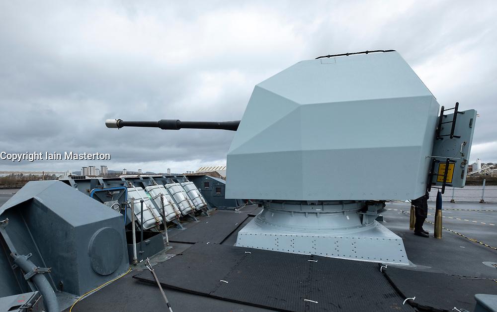 24 March, 2109, Glasgow, Scotland, UK. HMS Defender Type 45 Destroyer berthed at dock in Govan during visit to Glasgow, Scotland, UK. Pictured, BAE 4.5 inch Mk 8 naval gun