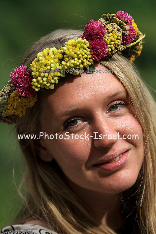 Young Armenian woman with a flower's wreath