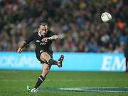 Aaron Cruden of the All Blacks converts a try during the third rugby test between the All Blacks and England played at Waikato Stadium in Hamilton during the Steinlager Series - All Blacks v England, Hamiton, 21 June 2014<br /> www.photosport.co.nz