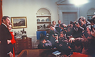 The Reagan pose for photographers in the Oval Office<br />Photo by Dennis Brack. bb77